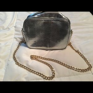 NWOT silver crossbody purse